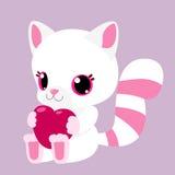 Fennec d'Arabie Blanc avec les rayures roses Renard animal Fourrure colorée par conte de fées jouet pelucheux Coeur de cadeau Images stock