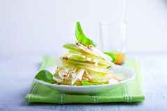 Fennel and apple salad. On white plate Royalty Free Stock Images