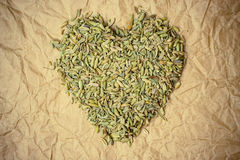 Fennel dill seeds heart shaped on paper surface Stock Photo