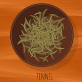 Fennel flat design vector icon. Flavor spices and herbs menu template collection Stock Photos