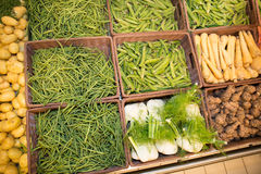 Fennel and green beans for sale at a market Stock Image