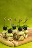 Fennel-marinated feta and olive skewers Royalty Free Stock Image