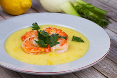 Fennel and potato cream soup with shrimp Stock Image