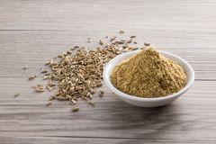 Fennel powder and seed Royalty Free Stock Image
