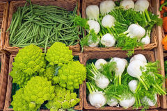 Fennel and romanesco broccoli. For sale at a market Stock Photos