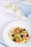 Fennel Salad Served with White Wine Stock Image