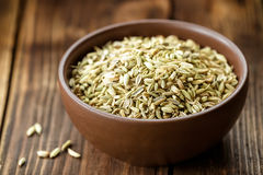 Fennel seeds. In a bowl Stock Image
