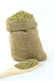 Fennel seeds in burlap bag and over wooden spoon. Royalty Free Stock Photography
