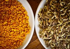 Fennel seeds and dry orange rind Royalty Free Stock Photo