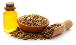 Fennel seeds with essential oil in a bottle Stock Photos