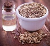 Fennel seeds with essential oil. In a bottle on natural surface Royalty Free Stock Image