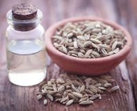 Fennel seeds with essential oil. In a bottle on natural surface Stock Photo