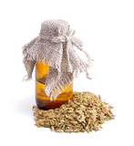 Fennel seeds with essetial oil. Royalty Free Stock Photography