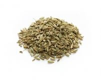 Fennel seeds, indian spice. On white background Royalty Free Stock Image