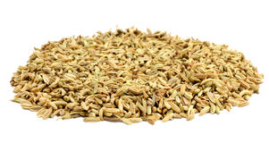 Fennel seeds. Over white background Stock Photos