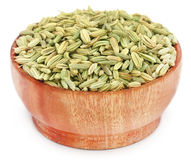 Fennel seeds over white background Royalty Free Stock Photos