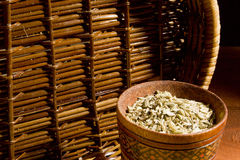Fennel seeds in a wooden bowl Stock Photography