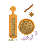 Fennel seeds in a wooden bowl and wooden shaker. Colorful cartoon illustration Stock Photo