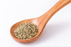 Fennel seeds in a wooden spoon - spoon diagonally Royalty Free Stock Image