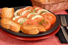 A fennel and tomato salad with crostini Royalty Free Stock Images
