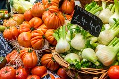 Fennel and tomatoes at Borough Market royalty free stock image
