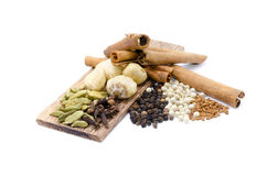 Feno-grego, Candlenut, canela, cravo-da-índia, cardomom, blackpepper, whitepepper Imagens de Stock Royalty Free