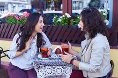 Fenomenalne damy śmia się herbaty i pije Zdjęcia Royalty Free