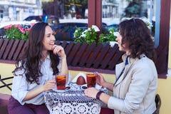 Fenomenalni madams komunikuje herbaty i pije Fotografia Stock