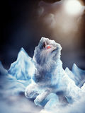 Fenrir. Digital painting of the ice wolf, Fenrir of Norse mythology, imprisoned in ice Stock Images