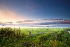 Fense auf niederländischem Ackerland am nebelhaften Morgen Stockfotos