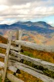 Fense at an Overlook. This is a fence at fall overlooking the mountains Stock Image