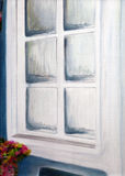 Fenster, Ölgemälde. Lizenzfreie Stockfotos