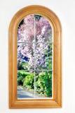 Fenster auf Garten Lizenzfreies Stockbild