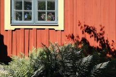 Fenster auf roter Hausmauer mit Gras Stockfotografie