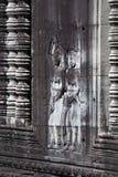 Fenster Colonettes und Flachreliefs an des 12. Jahrhunderts Tempel Ankgor Wat Lizenzfreie Stockfotografie