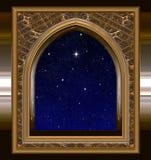 Fenster, das heraus zum nächtlichen Himmel mit dem Wunsch des Sternes schaut lizenzfreie abbildung