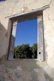 Fenster in den Ruinen Stockbild