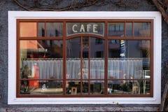 Fenster der Kaffeestube in schlechtem Ischl, Österreich lizenzfreies stockfoto