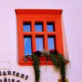 Fenster in der mittelalterlichen Stadt Sighisoara, Siebenbürgen Lizenzfreie Stockfotos