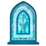 Fenster des Eises in im altem Stil mit Verzierung Buntglas bereift Dekorative gefrorene Innenelemente Vektor lokalisiert lizenzfreie abbildung