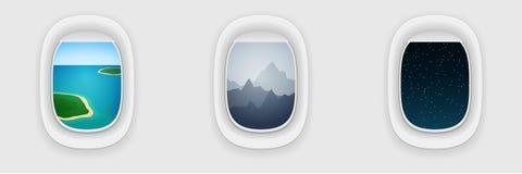 Fenster des Flugzeuges, langes Flugkonzept Ferien, reisende Schablone Lizenzfreies Stockbild