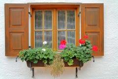 Fenster des Landhauses mit Blumen Stockfotografie