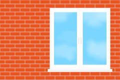 Fenster in eine Backsteinmauer. Stockbilder