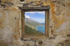 Fenster - Fort de la Turrà - Frankreich Stockfotografie