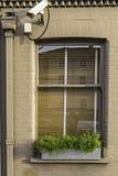 Fenster mit Überwachungskamera in der dunklen Sahnewand Stockfotos