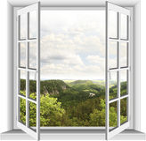 Fenster mit Bergblick Lizenzfreies Stockfoto