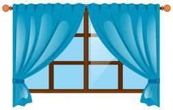 Fenster mit blauem Vorhang Lizenzfreies Stockfoto