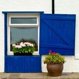 Fenster mit blauen hölzernen Vorhängen und Blumen Lizenzfreie Stockbilder