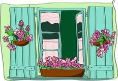 Fenster mit Blumen stock abbildung