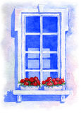 Fenster mit Blumen watercolor Stockfotos